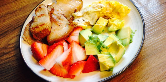 Paleo Breakfast Eggs Avocadoes Pork Strawberries